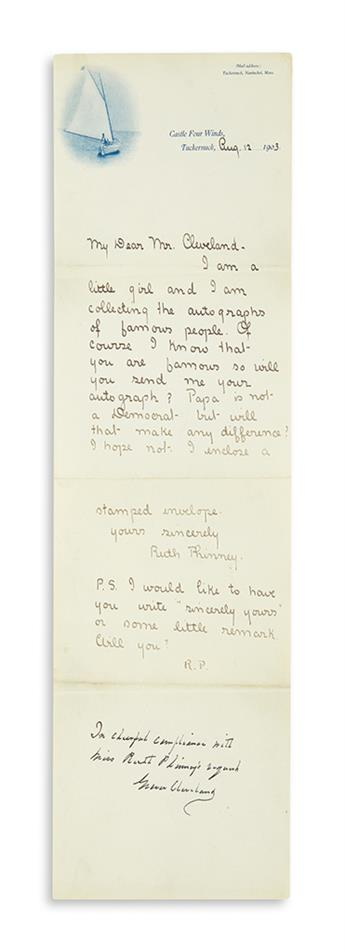 CLEVELAND, GROVER. Autograph Note Signed, written in blank space at bottom of childs letter requesting an autograph: