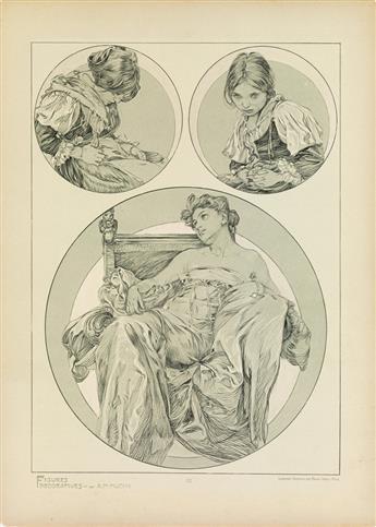 ALPHONSE MUCHA (1860-1939). FIGURES DÉCORATIVES. Group of 4 plates. 1905. Each 18x13 inches, 45x33 cm. Emile Levy, Paris.