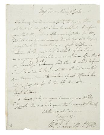 (AMERICAN REVOLUTION--1780.) Smith, William Stephens. Letter describing the repulse of a British foray into New Jersey.