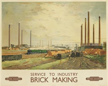 CHARLES CUNDALL (1890-1971). SERVICE TO INDUSTRY / BRICK MAKING / BRITISH RAILWAYS. Circa 1955. 40x49 inches, 101x126 cm. John Waddingt