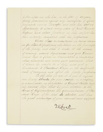LOWELL, JAMES RUSSELL. Letter Signed, J.R. Lowell, to Representative Ebenezer R. Hoar, thanking him for accepting the nomination for