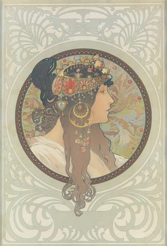 ALPHONSE MUCHA (1860-1939). [TÊTES BYZANTINES.] Two decorative panels. 1897. Each approximately 20x14 inches, 52x87 cm. [F. Champenois,