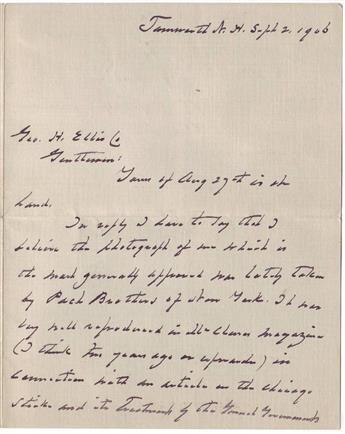 CLEVELAND, GROVER. Autograph Letter Signed, to publisher George H. Ellis Co. (Gentlemen),