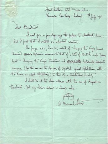 SHAW, GEORGE BERNARD. Autograph Letter Signed, G. Bernard Shaw, to publisher Brentanos,