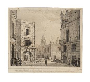 (MEXICO--PRINTS.) Gualdi, Pedro; artist. Pair of lithographs depicting an uprising in Mexico City.