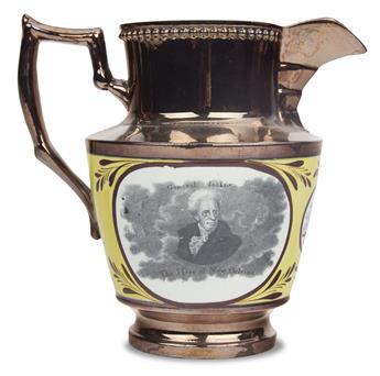 (PRESIDENTS--1829.) Lustreware pitcher depicting Andrew Jackson.