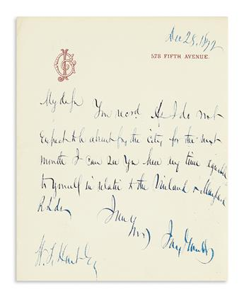 (BUSINESS.) GOULD, JAY. Brief Autograph Letter Signed, to W[illiam?] T. Hart: