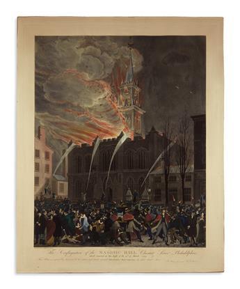 (PENNSYLVANIA.) Hill, John, engraver; after Jones and Krimmel. The Conflagration of the Masonic Hall, Chestnut Street, Philadelphia.