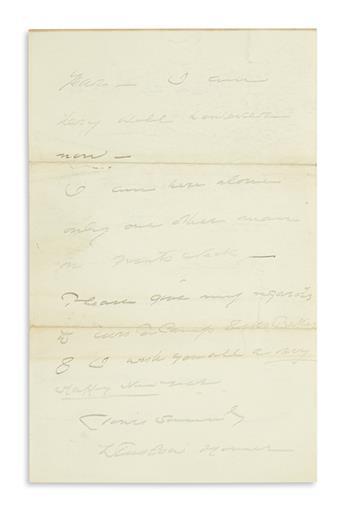 HOMER, WINSLOW. Autograph Letter Signed, to painter Joseph DeCamp (Dear Mr. de Camp),