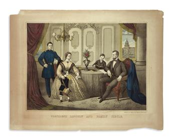(PRINTS--FAMILY.) Group of 13 unframed prints of Lincolns family.
