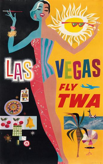 DAVID KLEIN (1918-2005). FLY TWA. Two small format posters. Circa 1960s. Each approximately 24x15 inches, 63x39 cm.