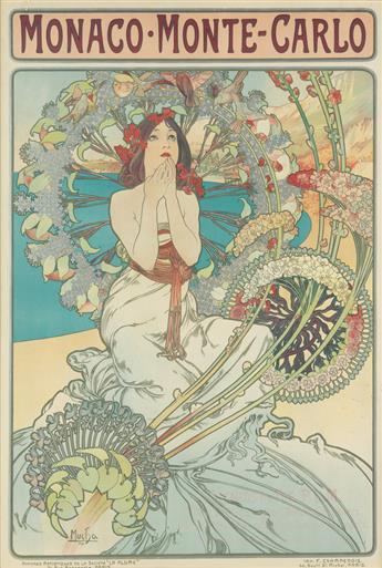 ALPHONSE MUCHA (1860-1939). MONACO • MONTE - CARLO. 1897. 42x29 inches, 108x74 cm. F. Champenois, Paris.