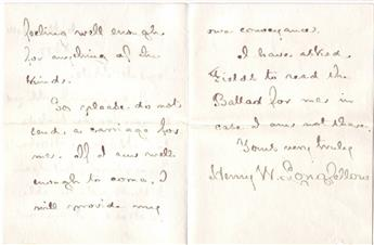 LONGFELLOW, HENRY WADSWORTH. Autograph Letter Signed, Henry W. Longfellow, to Edward Everett Hale (Dear Mr. Hale),