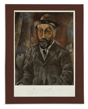 PICASSO, PABLO. Signature, Picasso, on a reproduction of his Portrait de Clovis Sagot (1909), in green ink.