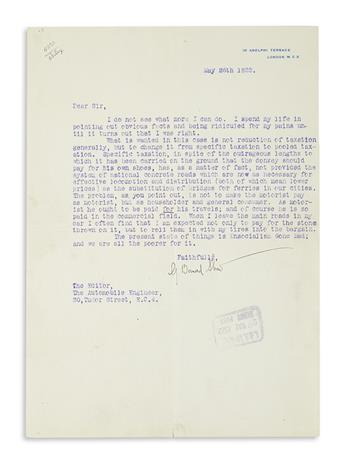 SHAW, GEORGE BERNARD. Typed Letter Signed, G. Bernard Shaw, to the Editor of The Automobile Engineer,