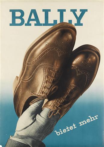 HEINRICH STEINER (1906-1983). BALLY / BIETET MEHR. 1936. 50x35 inches, 127x90 cm. Orell Füssli, Zurich.