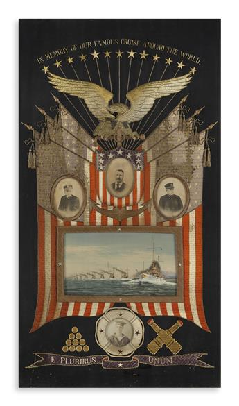 (ROOSEVELT, THEODORE.) Large embroidery of the Great White Fleet.