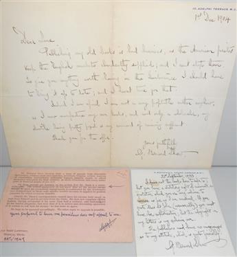 SHAW, GEORGE BERNARD. Group of 3 items: Two Autograph Letters Signed, G. Bernard Shaw, and a Letter Signed, GBS, to various recipie