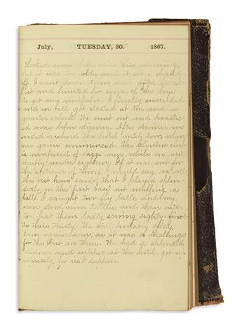 (SPORTS--BASEBALL.) Smith, Brayton W. Diary of an avid early baseball player in Wisconsin and the University of Michigan.