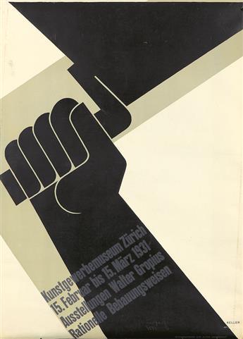 ERNST KELLER (1891-1968). AUSSTELLUNGEN WALTER GROPIUS. 1931. 50x36 inches, 128x91 cm. Alten Universitat, Heidelberg.