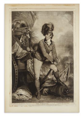 (AMERICAN REVOLUTION--1782.) Smith, J.R., engraver. Engraving of Banastre Tarleton after the portrait by Sir Joshua Reynolds.