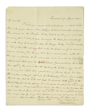 (TRINIDAD.) Neilson, Robert. Letter discussing the labor force at his Brechin Castle sugar estate.
