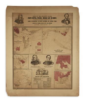 (PRINTS--PRESIDENTIAL.) Maps of the Atlantic States: Forts Sumter, Pickens, Monroe and McHenry.