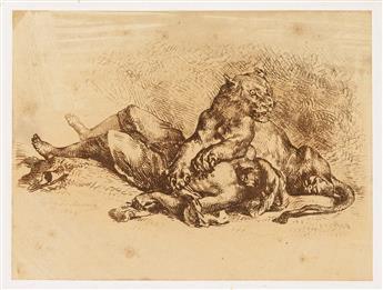 EUGÈNE DELACROIX Lionne Déchirant la Poitrine dun Arabe.