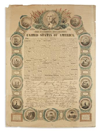 (DECLARATION OF INDEPENDENCE.) In Congress, July 4, 1776, the Unanimous Declaration of the Thirteen United States of America.