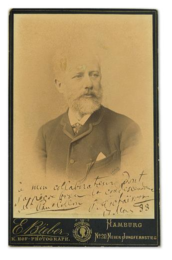 TCHAIKOVSKY, PETER ILYICH. Photograph Signed and Inscribed, to librettist Paul Collin, in French: