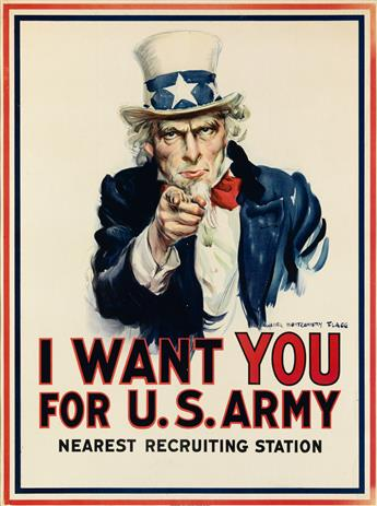 JAMES MONTGOMERY FLAGG (1870-1960). I WANT YOU FOR U.S. ARMY. 1917. 39x29 inches, 100x74 cm. Leslie-Judge Co., New York.