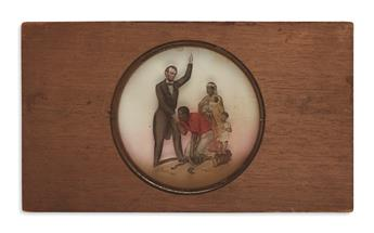 (PHOTOGRAPHY.) Group of 4 Lincoln glass slides.