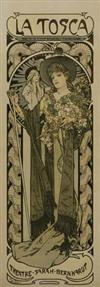 ALPHONSE MUCHA (1860-1939) LA TOSCA. 1898. 41x14 inches. Champenois, Paris.