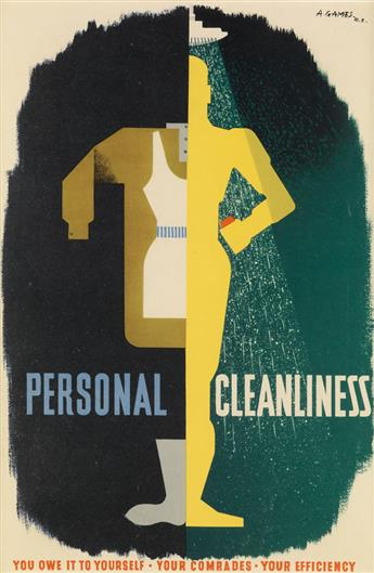 ABRAM GAMES (1914-1996). PERSONAL CLEANLINESS. 1941. 14x9 inches, 37x24 cm. [Lowe and Brydone Printers Ltd., London.]