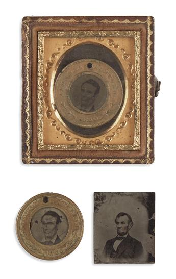 (PHOTOGRAPHY.) Group of 3 miniature campaign tintypes of Lincoln.