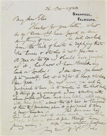 HENRY S. TUKE (1858-1929)  Personal letter from the noted painter to his friend Ellis.