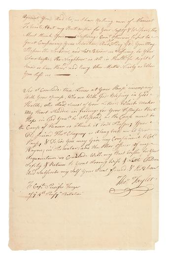 (AMERICAN REVOLUTION--1776.) Taylor, Thomas. Letter from a Pennsylvania man reflecting on the recent Declaration of Independence.