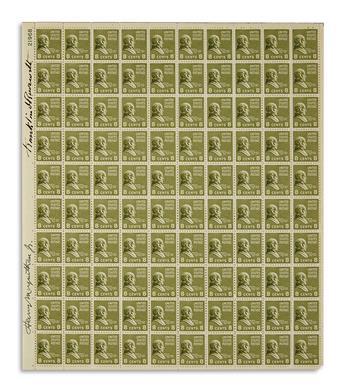 ROOSEVELT, FRANKLIN D. Sheet of stamps Signed, vertically in margin at upper left.
