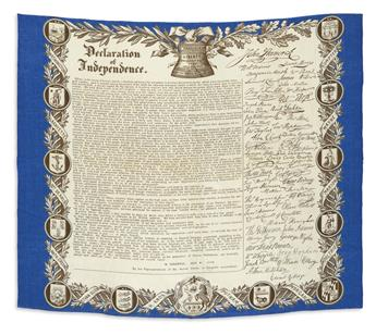 (DECLARATION OF INDEPENDENCE.) Pair of decorative engraved kerchiefs.