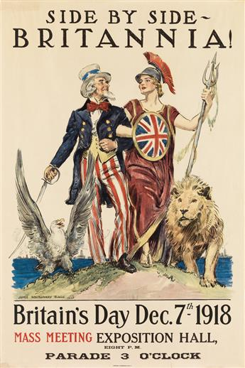 JAMES MONTGOMERY FLAGG (1870-1960). SIDE BY SIDE - BRITANNIA! / BRITAINS DAY. 1918. 30x20 inches, 76x51 cm. American Lithographic Co.,