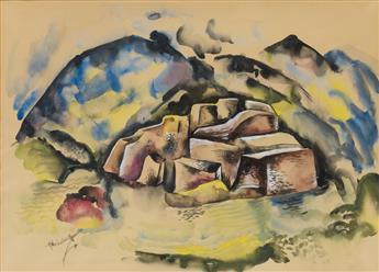 HALE WOODRUFF (1900 - 1980) Untitled (Coastal Landscape).