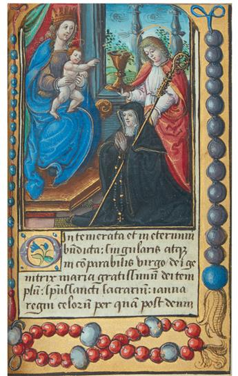 (MANUSCRIPT.)  Illuminated Prayer Book in Latin and French on vellum, with 35 miniatures. France, 1530s-40s