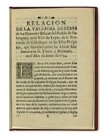 PHILIPPINE IMPRINT.  Relacion de la Valerosa Defensa de los Naturales Bisayas del Pueblo de Palompong.  1754
