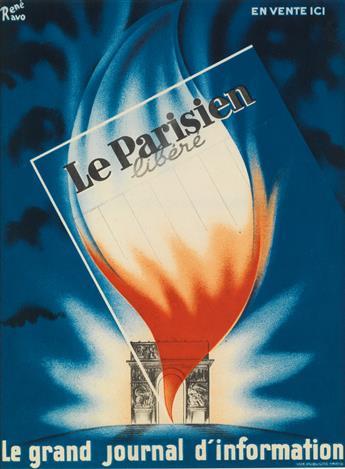 RENÉ RAVO (1904-1998). LE PARISIEN LIBÉRÉ. Circa 1945. 14x10 inches, 36x27 cm. Vox Publicité, Paris.
