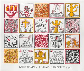 KEITH HARING (1958-1990). KEITH HARING ONE MAN SHOW. 1982. 33x39 inches, 84x99 cm. Nouvelles Images, Lombreuil.