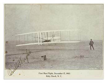 (AVIATORS.) WRIGHT, ORVILLE. Signature, on a printed card depicting the famous Wright Flyer in flight,