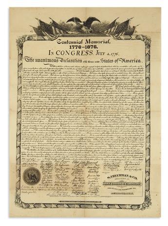 (DECLARATION OF INDEPENDENCE.) Centennial Memorial, 1776-1876. In Congress, July 4, 1776.