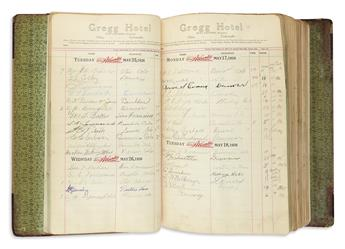 (COLORADO.) Guest register for the Gregg Hotel in the northeastern part of the state.