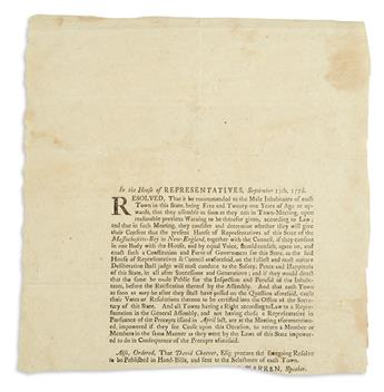 (AMERICAN REVOLUTION--1776.) A resolution to begin work on a new constitution for the state of Massachusetts.