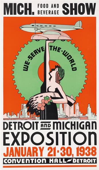 DESIGNER UNKNOWN. MICH. FOOD AND BEVERAGE SHOW / DETROIT AND MICHIGAN EXPOSITION. 1938. 23x14 inches, 60x36 cm.